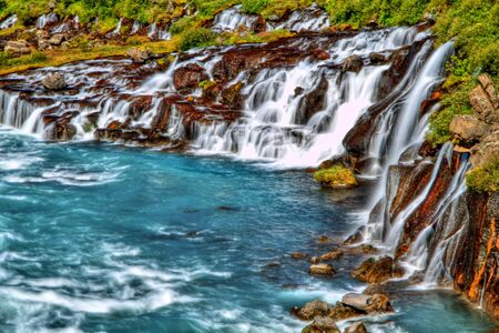 Hraunfossar waterfall in HDR, Iceland Stock Photo - 15355166