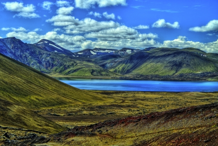 Landmannalaugar mountains in HDR, Iceland Stock Photo