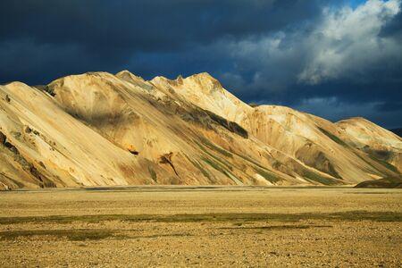 Landmannalaugar mountains at sunset, Iceland Stock Photo