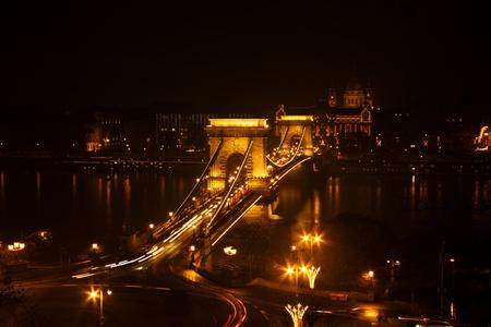 Sz�chenyi Chain Bridge in Budapest, Hungary