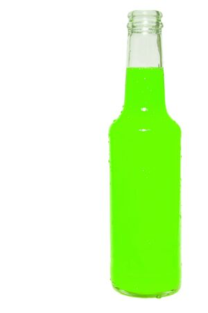 Glass bottle of green soda isolated on white Stock Photo