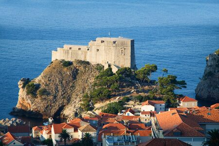 Detail of Dubrovnik Croatia at sunrise, travel background photo