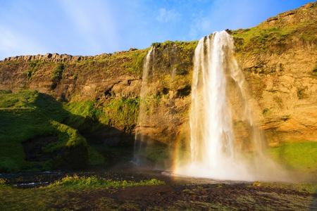 Seljalandfoss waterfall at sunset, Iceland Stock Photo - 16853815