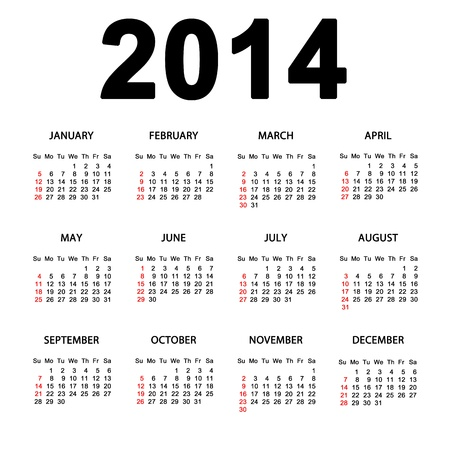 Simple great calendar for 2014 Stock Photo - 17127900