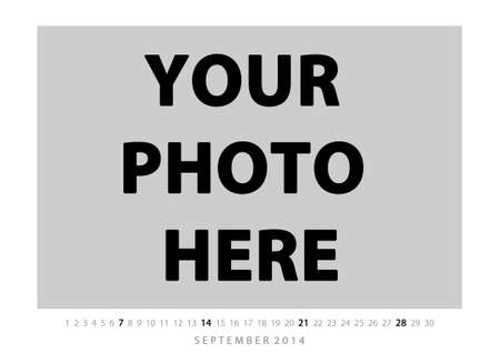 Horizontal picture calendar 2014 year template