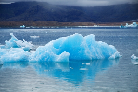 Icebergs on Jokulsarlon glacier lagoon, Iceland photo