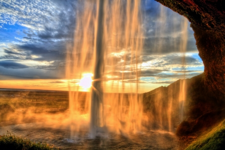 Seljalandfoss waterfall at sunset in HDR, Iceland Stock Photo - 17598651