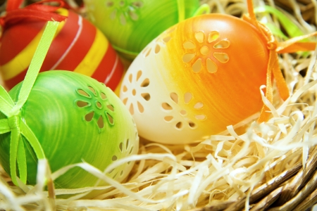 Easter eggs in a basket, easter background photo