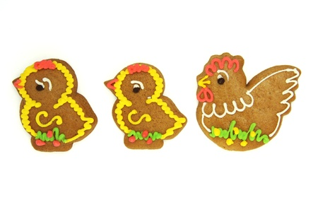 Easter Gingerbread Chickens with Fowl Isolated on White photo