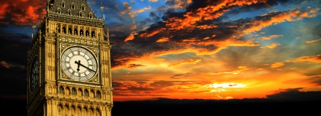 Big Ben at sunset panorama, London Stock Photo
