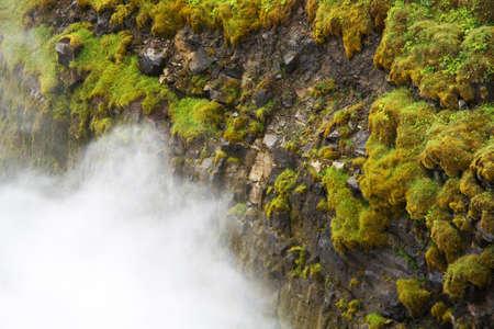 vapore acqueo: Rocce con erba verde e la caduta di vapore acqueo