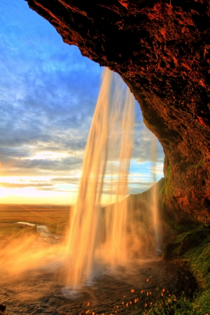 Seljalandfoss waterfall at sunset, Iceland Reklamní fotografie