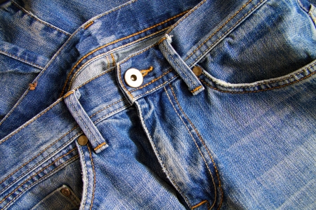 close button: Close up of blue jeans Stock Photo