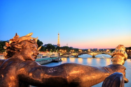 Eiffel Tower from Pont Alexandre III, Paris Stock Photo