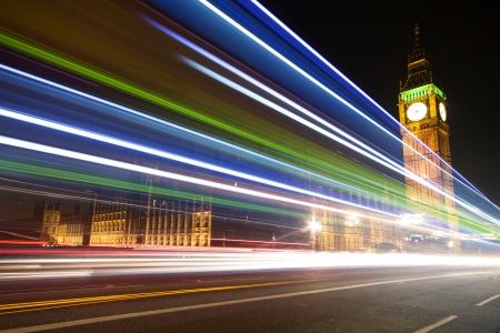 blurred lights: Big Ben with blurred lights at dusk, London Stock Photo