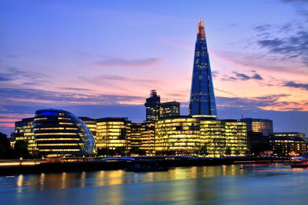 shard of glass: London Cityscape with New City Hall and The Shard Stock Photo