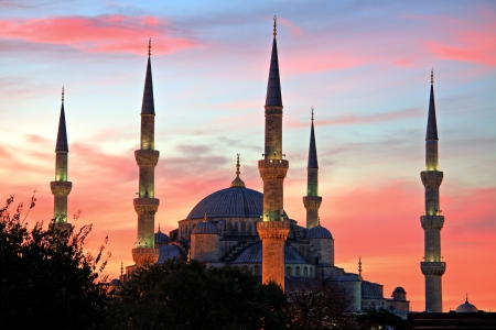 Illuminated Blue Mosque at Sunrise, Istanbul photo
