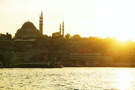 Istanbul old city panorama with mosque at sunset photo