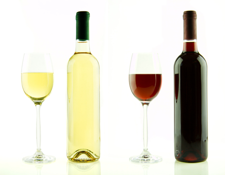 Bottle and glass of white and red wine isolated photo
