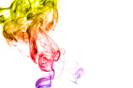 Colored smoke isolated on white  photo