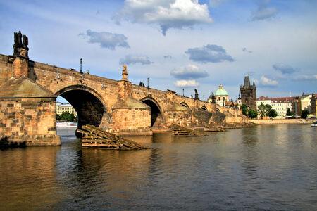 Charles Bridge at sunset, Prague photo