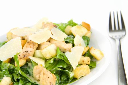 CHICKEN CAESAR SALAD: Caesar Salad Isolated on White