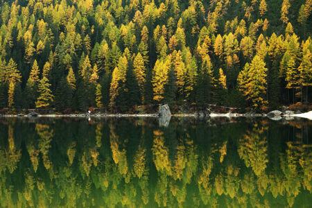 Reflection on Lago di Braies, Dolomites, Italy