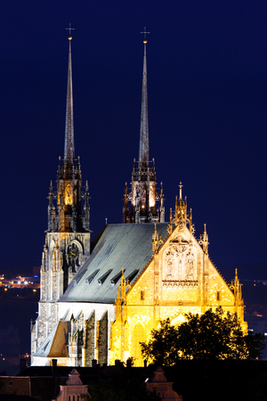 Illuminated St. Peter and Paul Cathedral at night, Brno