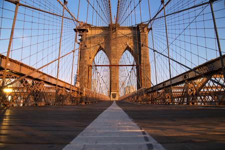 pedestrian bridge: Brooklyn Bridge at sunrise, New York City