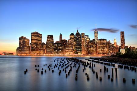 New York City Manhattan Downtown at dusk photo
