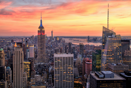 New York City Midtown with Empire State Building at Amazing Sunset Stock Photo