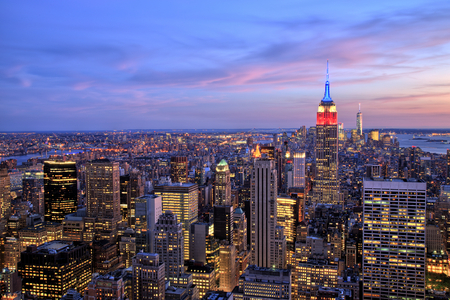 midtown: New York City Midtown with Empire State Building at Dusk Stock Photo