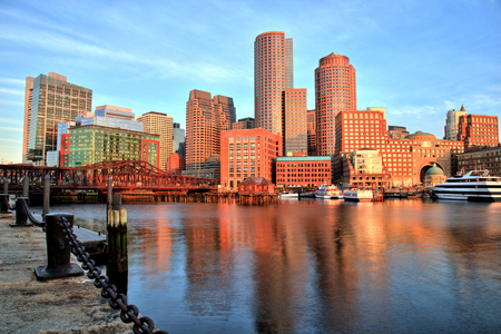 harbours: Boston Skyline with Financial District and Boston Harbor at Sunrise Stock Photo