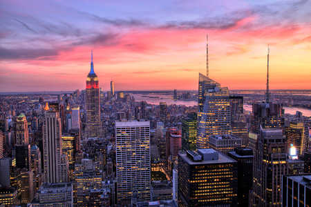 midtown: New York City Midtown with Empire State Building at Amazing Sunset Stock Photo