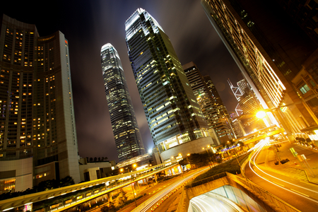 Hong Kong Business Center at Night photo