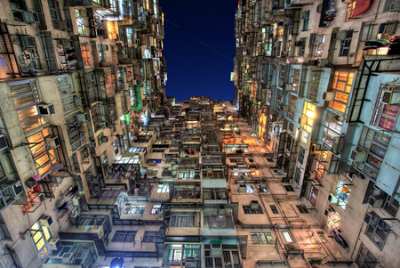 Old Colorful Apartments in Hong Kong photo