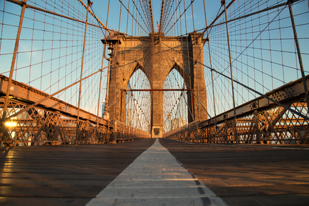 Vintage Brooklyn Bridge at sunrise, New York City Stock Photo