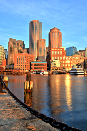 boston cityscape: Boston Skyline with Financial District and Boston Harbor at Sunrise Panorama