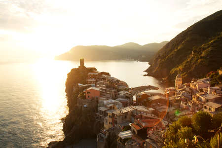 vernazza: Vernazza Village at Sunset, Cinque Terre, Italy