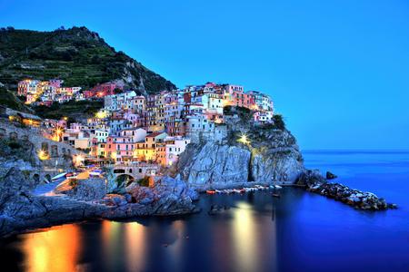 cinque terre: Illuminated Manarola Village at Dusk, Cinque Terre, Italy