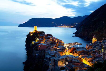 vernazza: Illuminated Vernazza Village at Dusk, Cinque Terre, Italy Stock Photo