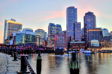 boston cityscape: Boston Skyline with the Financial District and Boston Harbor