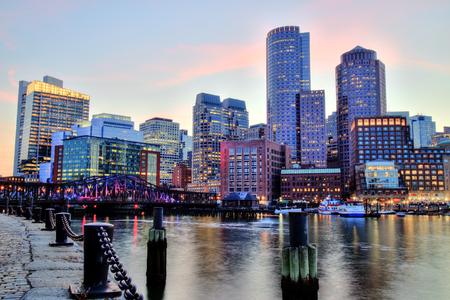 boston cityscape: Boston Skyline with the Financial District and Boston Harbor