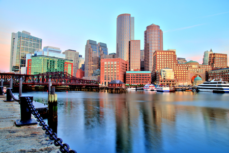 Boston Skyline with the Financial District and Boston Harbor at Sunrise Panorama