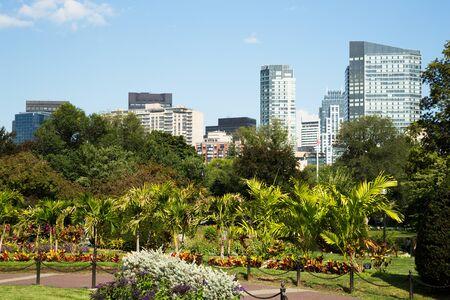 boston common: Boston Common Park Gardens with Boston Skyline