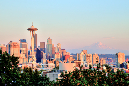 space needle: Seattle Cityscape with Mt. Rainier in the Background at Sunset, Washington, USA