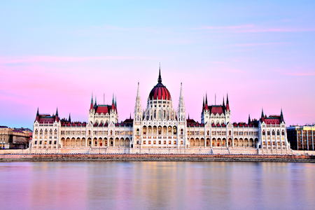 houses of parliament: Budapest Parliament at Sunset, Hungary Stock Photo
