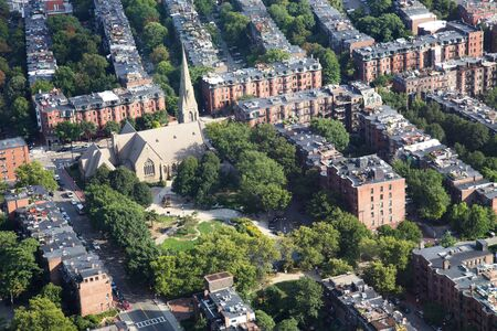 old church: Boston Aerial View Stock Photo
