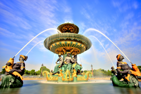 paris france: Fountain on the Place de la Concorde, Paris, France Stock Photo