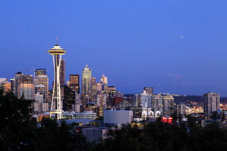 Seattle Cityscape with Mt. Rainier in the Background, Washington, USA Stock Photo